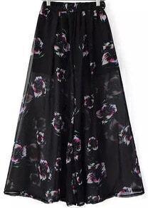 Black Elastic Waist Floral Wide Leg Pant