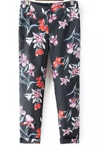 Black Floral Slim Pant