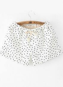 White Drawstring Waist Hearts Print Shorts