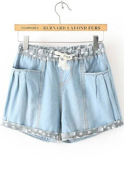 Blue Drawstring Waist Skull Print Denim Shorts pictures