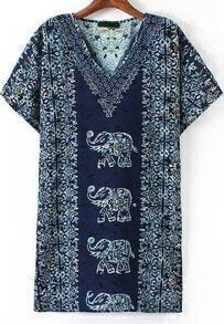 Navy V Neck Vintage Elephant Print Loose Dress