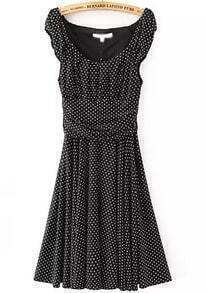 Black Scoop Neck Sleeveless Polka Dot Dress