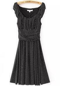 Black Scoop Neck Sleeveless Spotted Polka Dot Dress