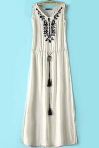 Beige Sleeveless Embroidered Drawstring Maxi Dress