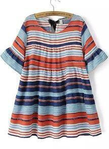 Multicolor Bell Sleeve Striped Loose Dress