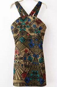 Khaki Strap Floral Slim Bodycon Dress