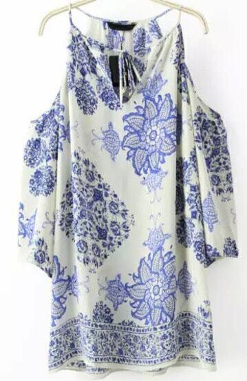 Vestido hombro al aire flores suelto -azul