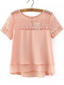 Pink Lace Short Sleeve Loose Chiffon Blouse