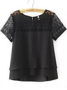 Black Lace Short Sleeve Loose Chiffon Blouse