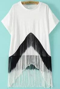 White Short Sleeve Tassel Loose Blouse