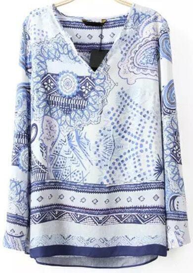 Blue V Neck Long Sleeve Loose Blouse
