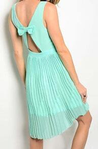 Green Backless Bow Pleated High Low Dress