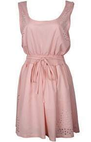 Pink Scoop Neck Hollow Tie-waist Dress