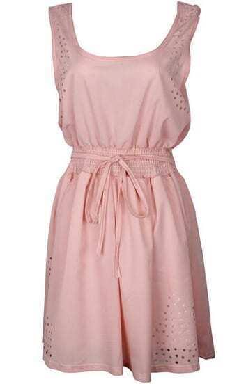 Pink Scoop Neck Hollow Tie-waist Dress