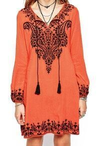 Orange Long Sleeve Cashew Embroidered Dress