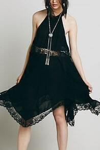 Black Halter Lace Loose Dress
