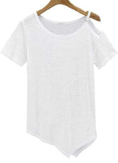 White One-Shoulder Short Sleeve Asymmetrical T-Shirt
