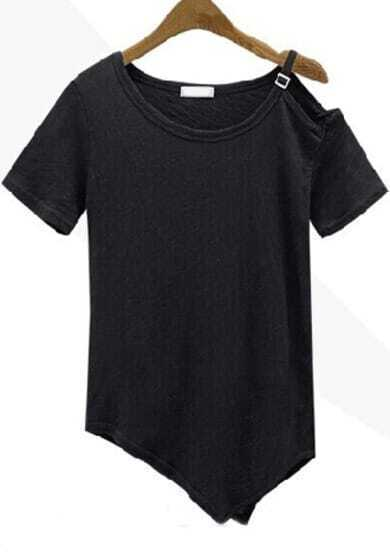 Black One-Shoulder Short Sleeve Asymmetrical T-Shirt