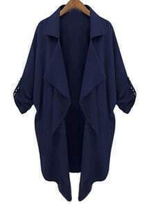 Casual Loose Pockets Navy Coat
