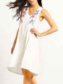 White Sleeveless Floral Embroidered Dress