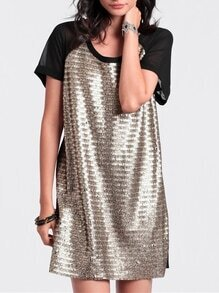 Gold Contrast Black Glittering Short Sleeve Colorblock Sequined Dress