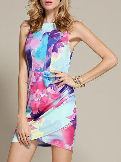 Blue Sleeveless Floral Print Dress pictures