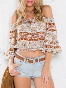White Off The Shoulder Vintage Print Crop Blouse