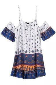 Spaghetti Strap Vintage Print Shift Dress