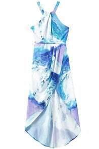 Halter High Low Print Dress