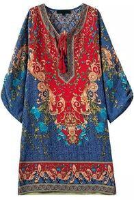 Lace Up Side Split Tribal Print Blue Dress