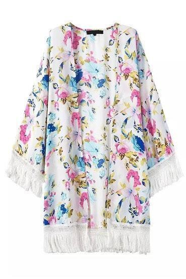 With Tassel Florals Loose Kimono