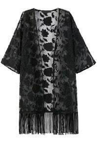 With Tassel Lace Loose Black Kimono