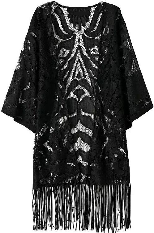 With Tassel Hollow Lace Kimono
