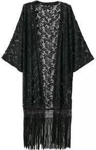 With Tassel Lace Loose Kimono