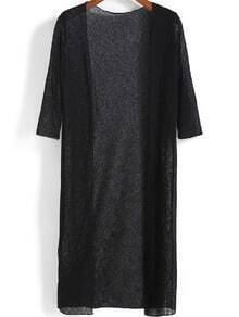 Black Half Sleeve Elastic Long Cardigan