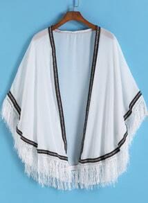 White Contrast Trims Tassel Chiffon Kimono