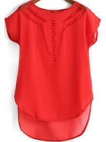 Red Dip Hem Hollow Chiffon Top