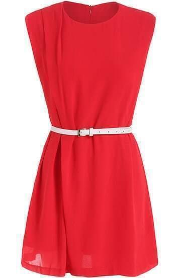 Red Round Neck Sleeveless Belt Chiffon Dress