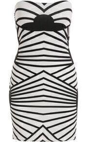 Black White Strapless Striped Bodycon Dress