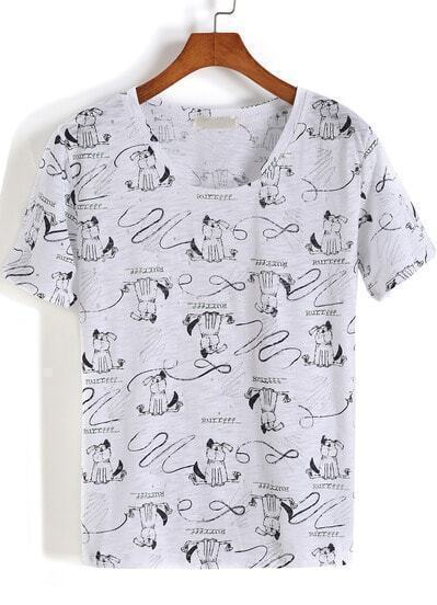White Short Sleeve Cartoon Dogs Print T-Shirt