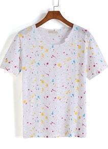 White Short Sleeve Graffiti Print T-Shirt