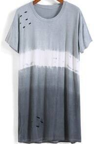 Grey Ombre Short Sleeve Hollow Loose T-Shirt
