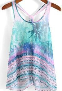 Green Pink Coconut Tree Print Chiffon Tank Top