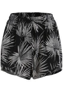 Black Elastic Waist Leaves Print Chiffon Shorts