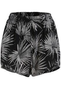 Black Elastic Waist Leaves Print Chiffon Shorts
