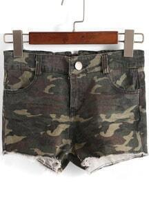Green Camouflage Print Straight Shorts