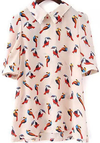 Short Sleeve Bird Print White Blouse