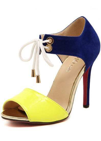Yellow High Heel Bandage Sandals
