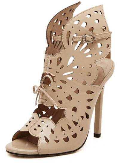 Apricot High Heel Hollow Bow Sandals