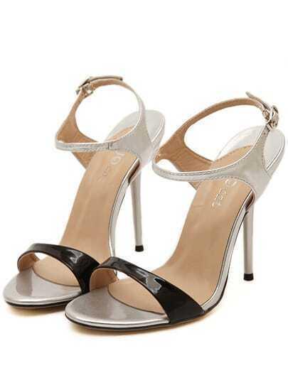 sandalen mit hohen abs tzen silber german shein sheinside. Black Bedroom Furniture Sets. Home Design Ideas